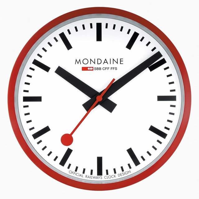 モンディーン MONDAINE 壁掛け時計 ウォールクロック レッド 25cm スイス国鉄オフィシャル 鉄道ウォッチ A990.CLOCK.11SBCメーカー保証つき