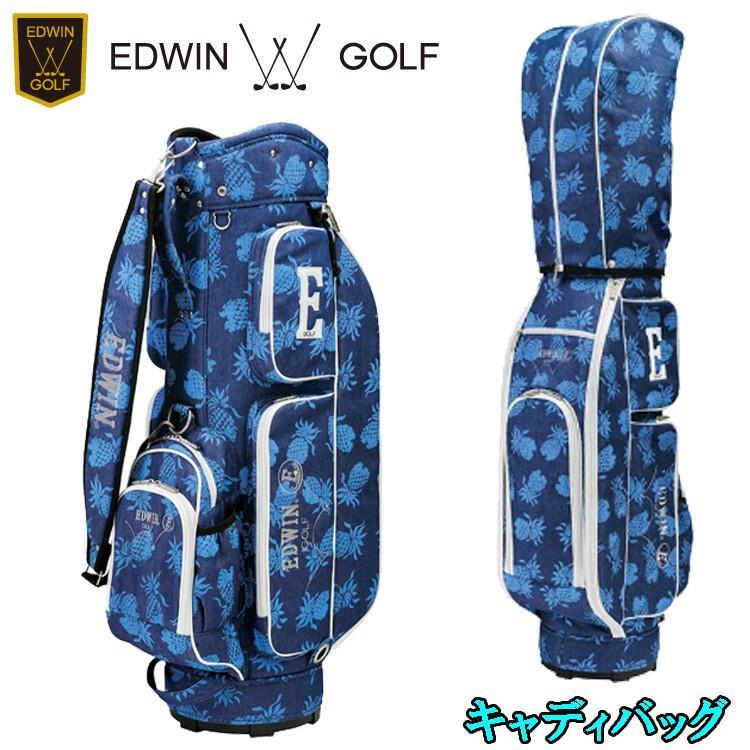 エドウィン ゴルフ EDWIN GOLF キャディバッグ EDWIN-038 パイナップル柄 キャディバッグ 【エドウィンゴルフ】【ゴルフバッグ】【カートバッグ】