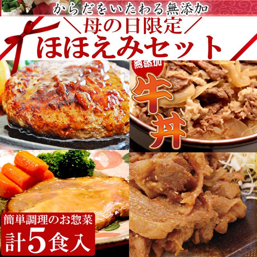 遅れてごめんね 母の日 2021 ギフト 惣菜 セット 無添加 ほほえみセット 5種 7個入 期間限定 中身が見える 詰め合わせ|yuuzen-hb