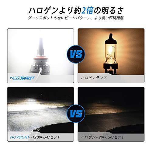 NOVSIGHT H11ledヘッドライト LEDバルブ H8 H9 H16対応兼用 フォグランプ 90W(45W*2) 12000LM(6000LM*2) 6500K 360°角度調整可 DC9-22|yuyu-harebare|06