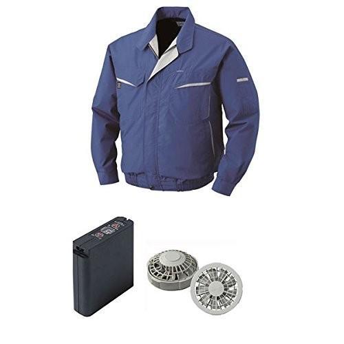 空調服 綿 ポリ混紡ワーク空調服 大容量バッテリーセット ファンカラー:グレー 0470G22C04S3 カラー:ブルー サイズ:L スポー