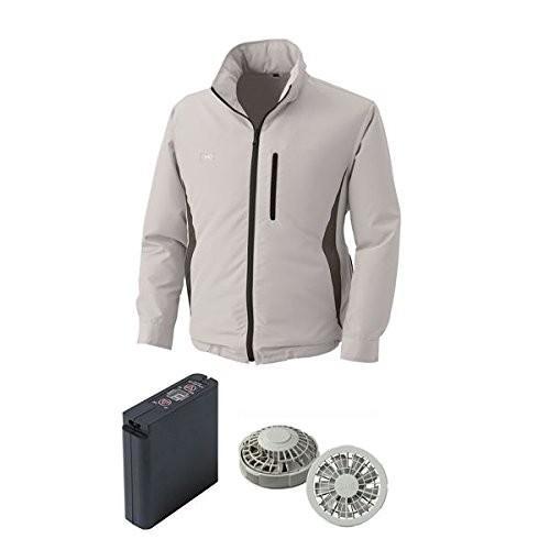 空調服 空調服 空調服 フード付ポリエステル製空調服 大容量バッテリーセット ファンカラー:グレー 0520G22C06S5 カラー:シルバー サイズ:XL cef