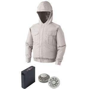 空調服 フード付ポリエステル製ワーク空調服 大容量バッテリーセット ファンカラー:グレー 0810G