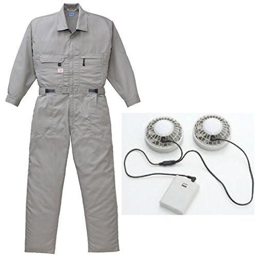 空調服 空調つなぎ+(ファン+電池ボックス)92601ab-9820-k-b グレー 5L