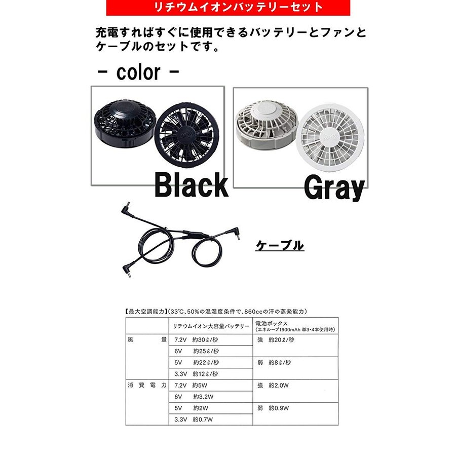 空調服 山田辰 つなぎ服・黒ファン・バッテリーセット 1-9812 グレー LL