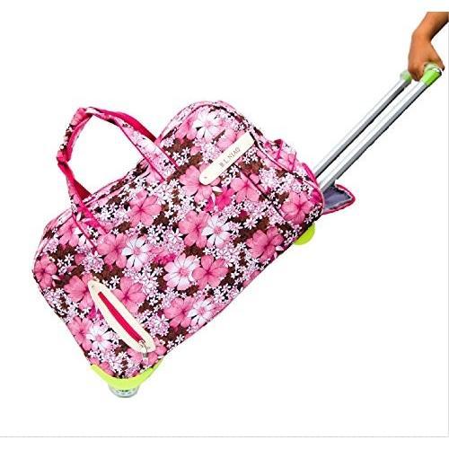 SANCTUS 大容量 花柄 キャリーバッグ キャリーケース 旅行ケース 旅行用カバン 旅行鞄 ty39 (ピンク)
