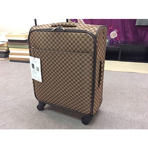 市松柄着物バッグ キャリーケース(容量34L) 茶色