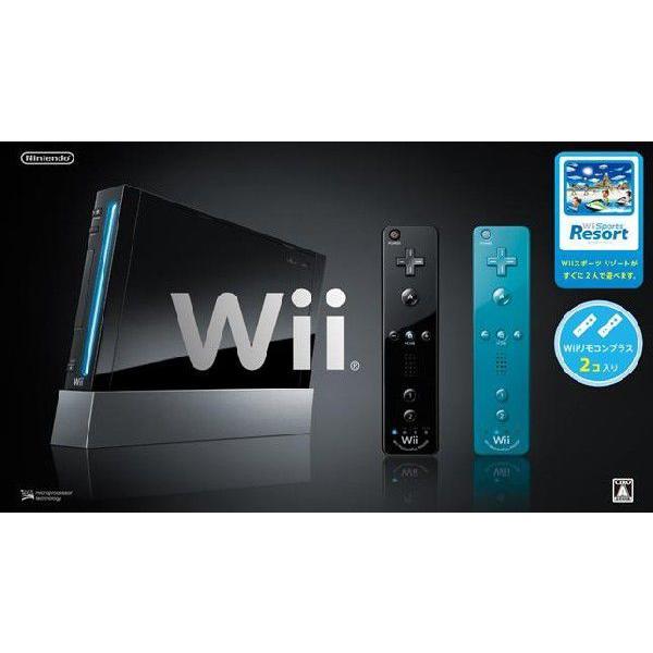 任天堂 Wii本体 (クロ) Wiiリモコンプラス2個+Wii Sports Resort同梱  【送料無料(沖縄県を除く)】【10P12Jul14】
