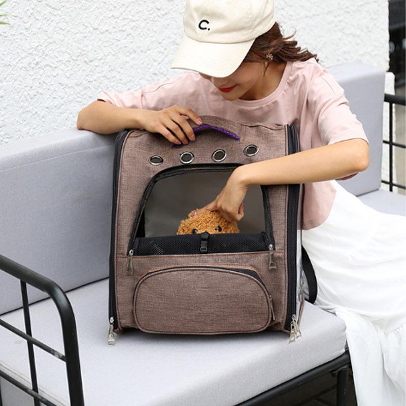 ペットキャリーバッグ  ペットバッグ ペットキャリー リュック 犬猫兼用 抱っこバッグ  小型犬 リュックサック 子犬用 メッシュ アウトドア 旅行 お出かけ|z-fashion|08