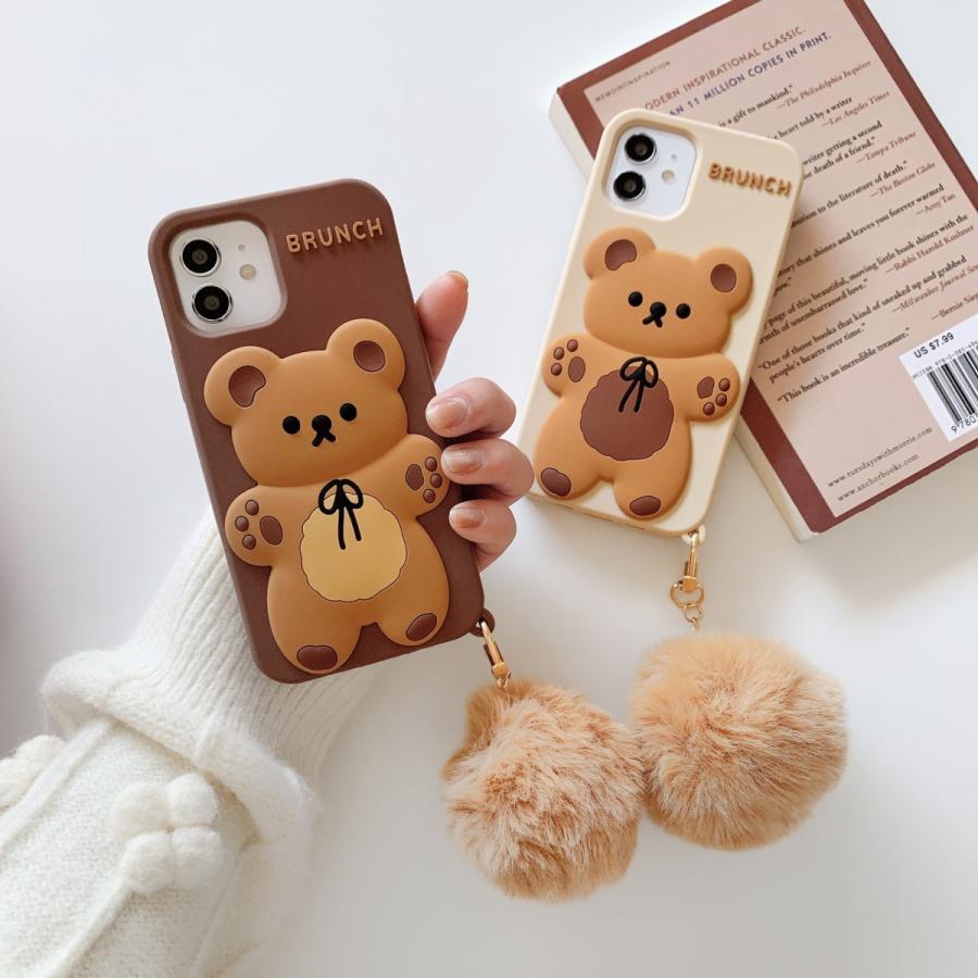スマホケース シリコン iPhone ケース 立体柄 クマ かわいい おしゃれ アイフォン iphone12 Pro Max iPhone11pro ケース iPhoneXR ケース カバー|z-fashion