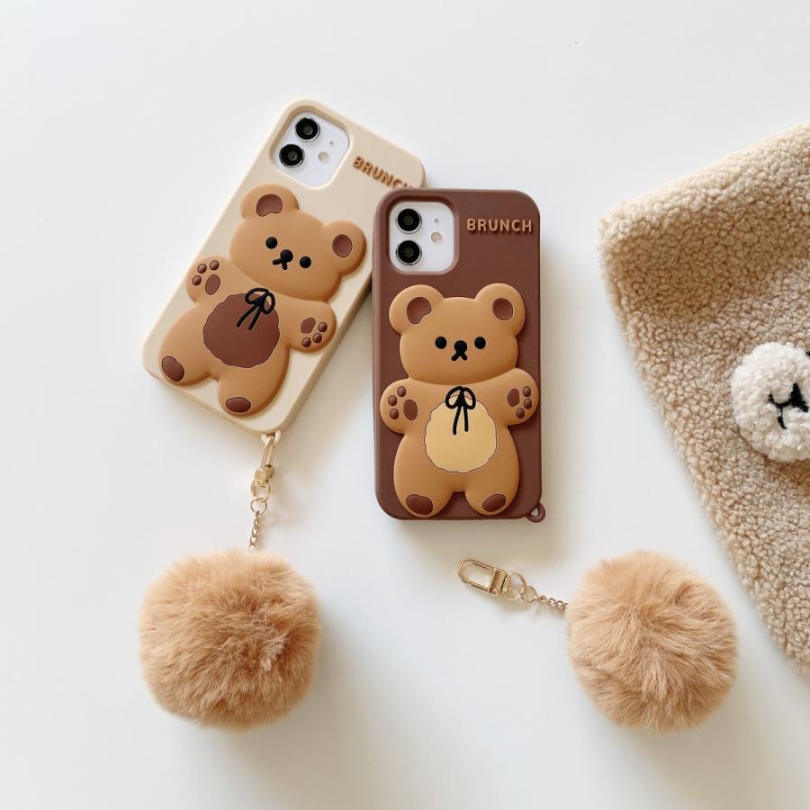 スマホケース シリコン iPhone ケース 立体柄 クマ かわいい おしゃれ アイフォン iphone12 Pro Max iPhone11pro ケース iPhoneXR ケース カバー|z-fashion|02