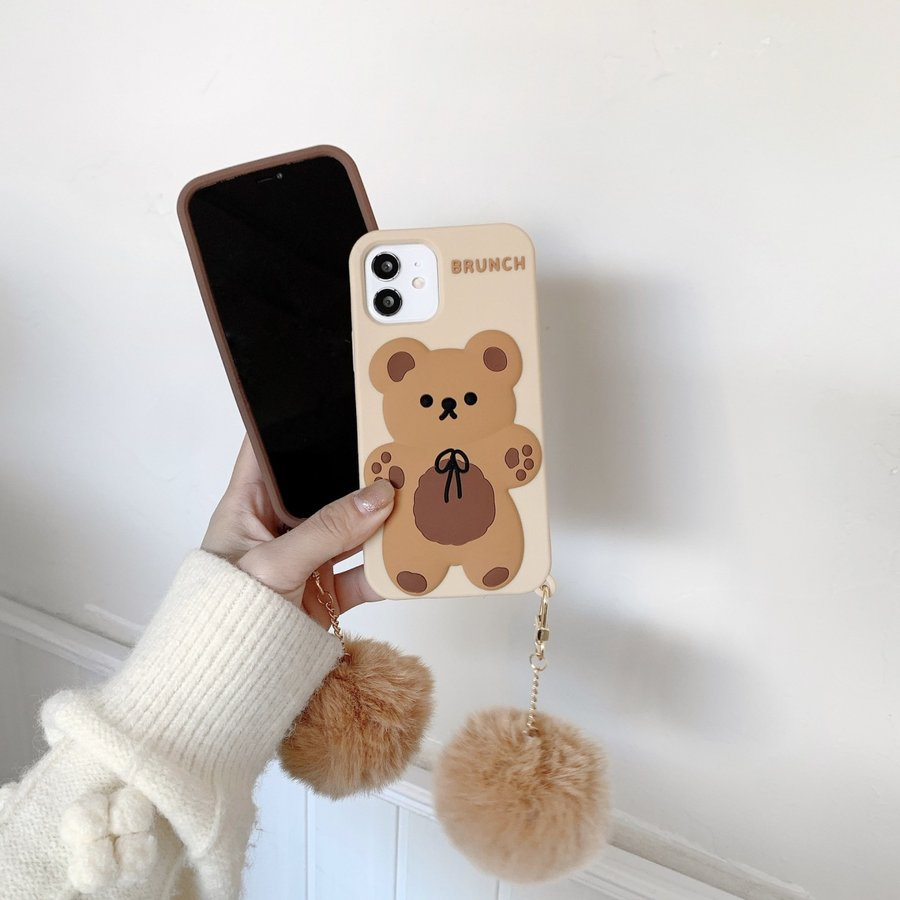 スマホケース シリコン iPhone ケース 立体柄 クマ かわいい おしゃれ アイフォン iphone12 Pro Max iPhone11pro ケース iPhoneXR ケース カバー|z-fashion|03