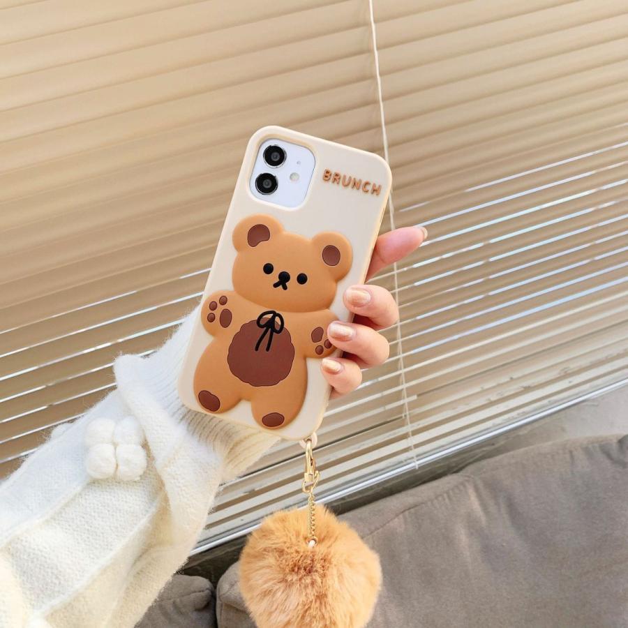 スマホケース シリコン iPhone ケース 立体柄 クマ かわいい おしゃれ アイフォン iphone12 Pro Max iPhone11pro ケース iPhoneXR ケース カバー|z-fashion|06