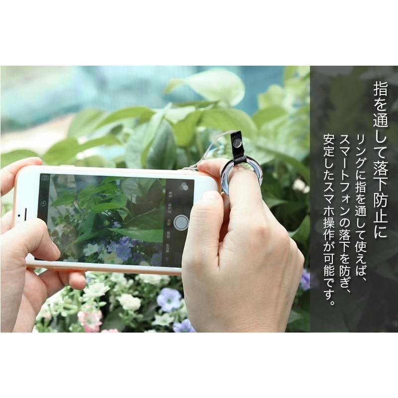 スマホストラップ ネックストラップ 首掛け リング付き リングストラップ 落下防止 レザー 革製 iPhone Xperia Galaxy 携帯 デジカメ 鍵 バスケース 汎用|zacca-15|06