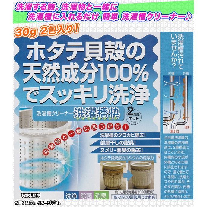洗濯槽 クリーナー ホタテ貝殻 天然成分100% 黒カビ抑制 徐々除去 洗濯機 掃除 脱臭効果 排水溝ヌメリ 悪臭 徐々に取れる 2包セット|zak-kagu|02
