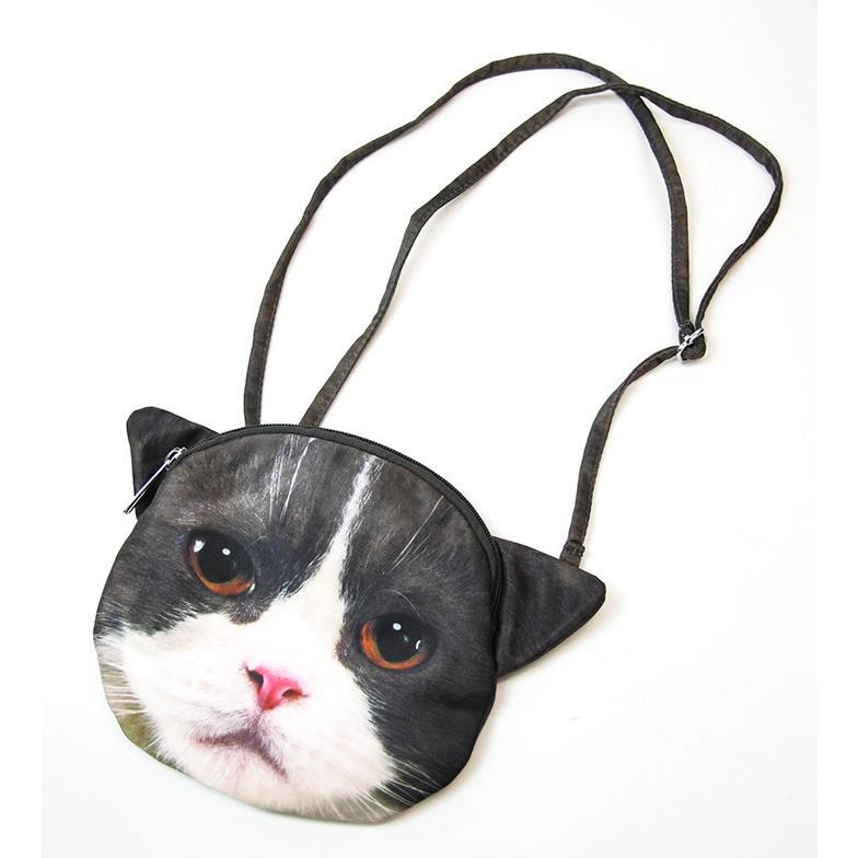 ねこポーチ 顔 プリント 小 アニマル 動物 いぬ 猫 ネコバッグ 猫バッグ 雑貨 プリント【メール便対応】 909 zakakafloor 05