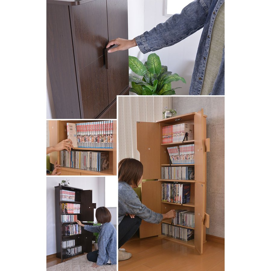 本棚 大容量 薄型キャビネット 幅48.5×奥行20×高さ120cm DVD収納 キャビネット おしゃれ zakka-gu-plus 07