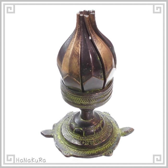 キャンドルホルダー 銅製 金物  632 蓮花 ろうそく立て 回転式 燭台 チベット|zakka-hanakura