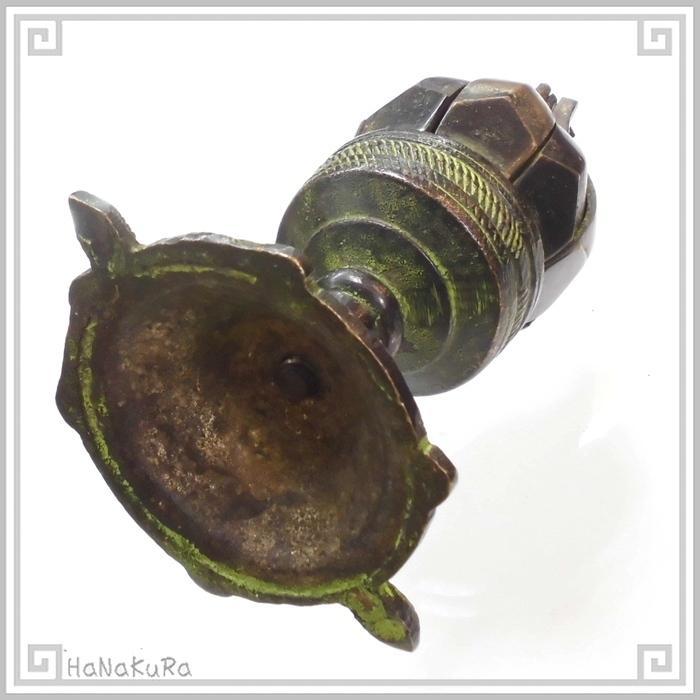 キャンドルホルダー 銅製 金物  632 蓮花 ろうそく立て 回転式 燭台 チベット|zakka-hanakura|07