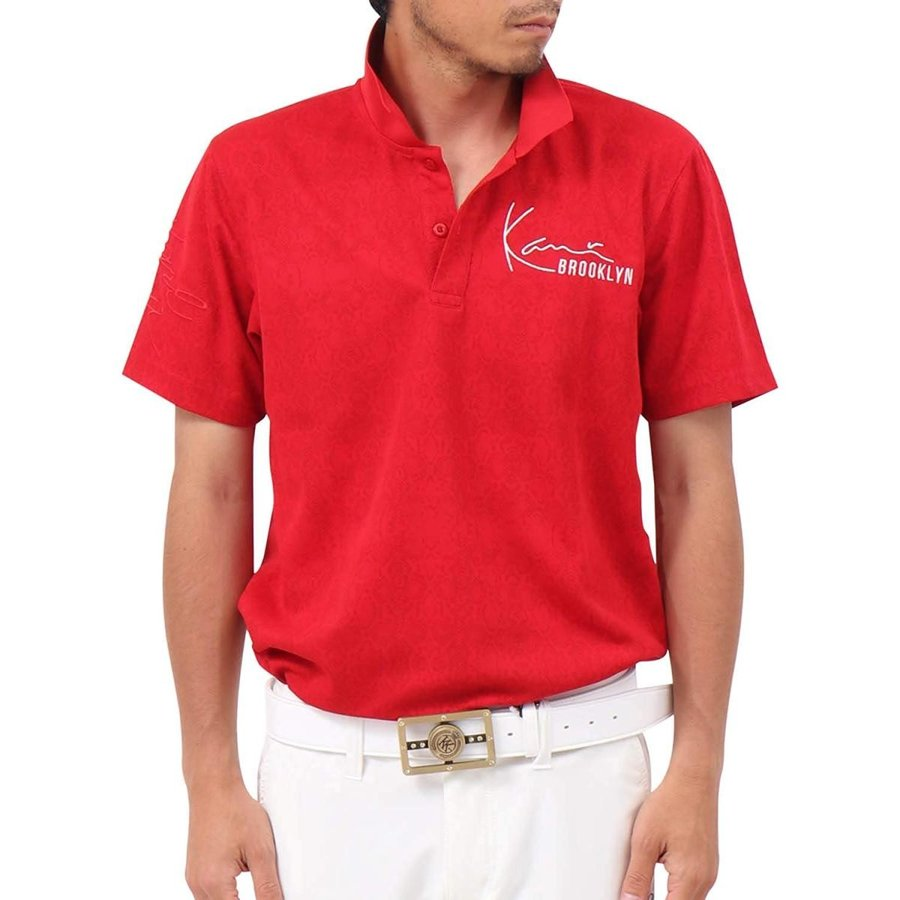 カールカナイ ゴルフ Karl Kani GOLF ポロシャツ パイソン 総柄 ドライ シャツ 192KG1216 レッド XL