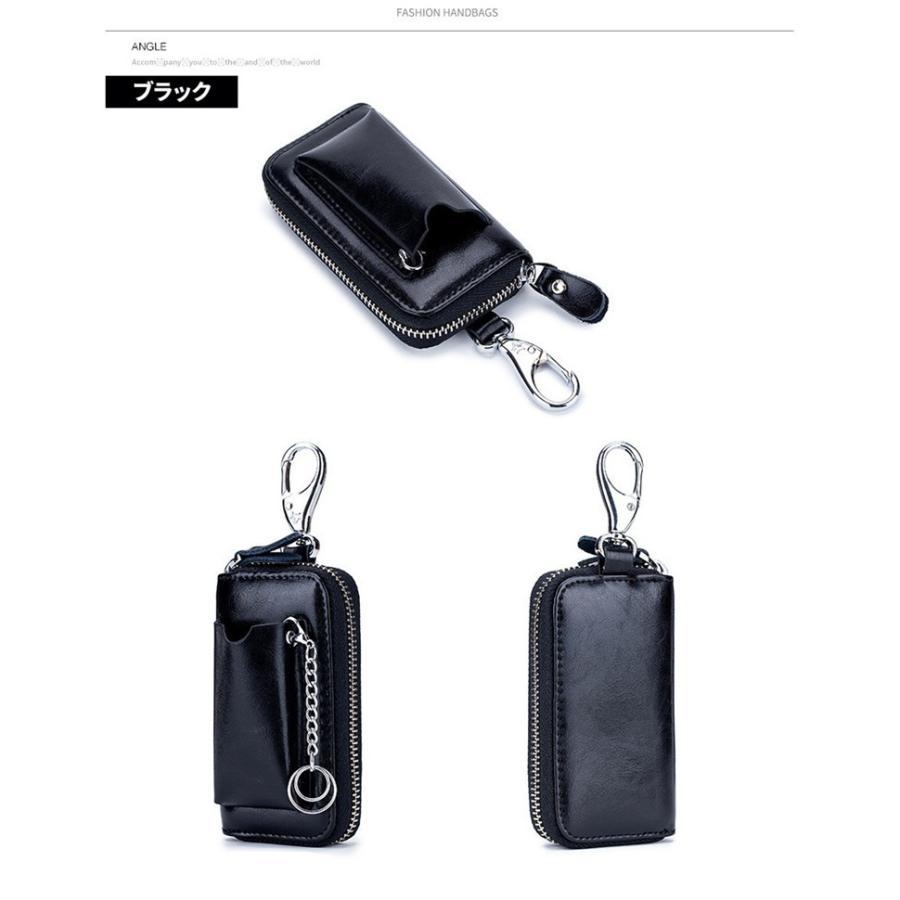 牛革キーケース スマートキーケース 車キー専用ポケット付き ラウンドファスナータイプ スマートキーケース キーケース  鍵 カード 札 6連  得トク セール|zakkaland|10