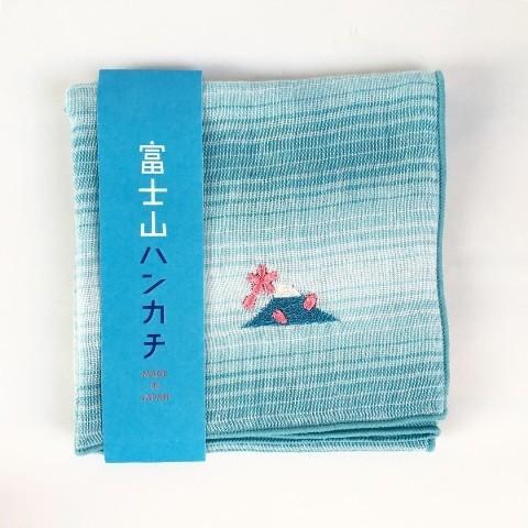 【にっぽん小物】刺繍ハンカチ・富士山と舞う桜|zakkaswitch