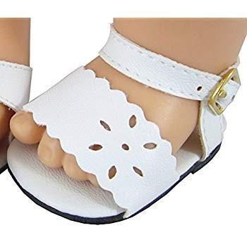 白い Scalloped Edge Sandals Fits Bitty Baby Dolls