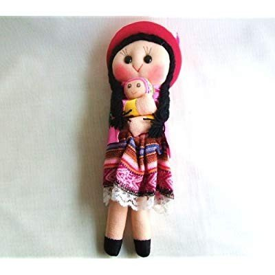Rag Mom and Baby Doll 10 Inches made in Peru cotton and wool fabrics