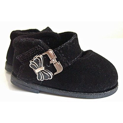 黒 Faux Suede Shoes Butterfly Buckle for Bitty Baby Dolls