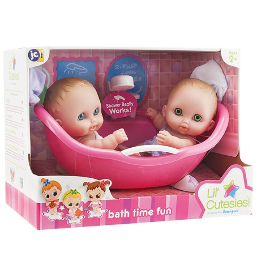 "Lil' Cutsies Twin Dolls in Bath - 8.5"" all vinyl water friendly dolls,"