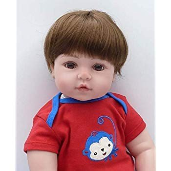 Binxing Toys Reborn Toddlers 24inch Boy 褐色 Hair 青 and 赤 Stripe