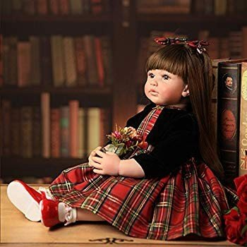 Real Life Reborn Baby Dolls Realistic Toddler Princess Girl 赤 Plaid