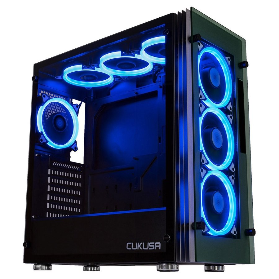 CUK Stratos Full ATX Tower Gaming Desktop Case with 7 RGB Halo Fans, L