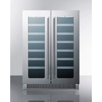 Summit Appliance CLFD24WCCSS 24 in. Undercounter Dual-Zone Wine Cellar