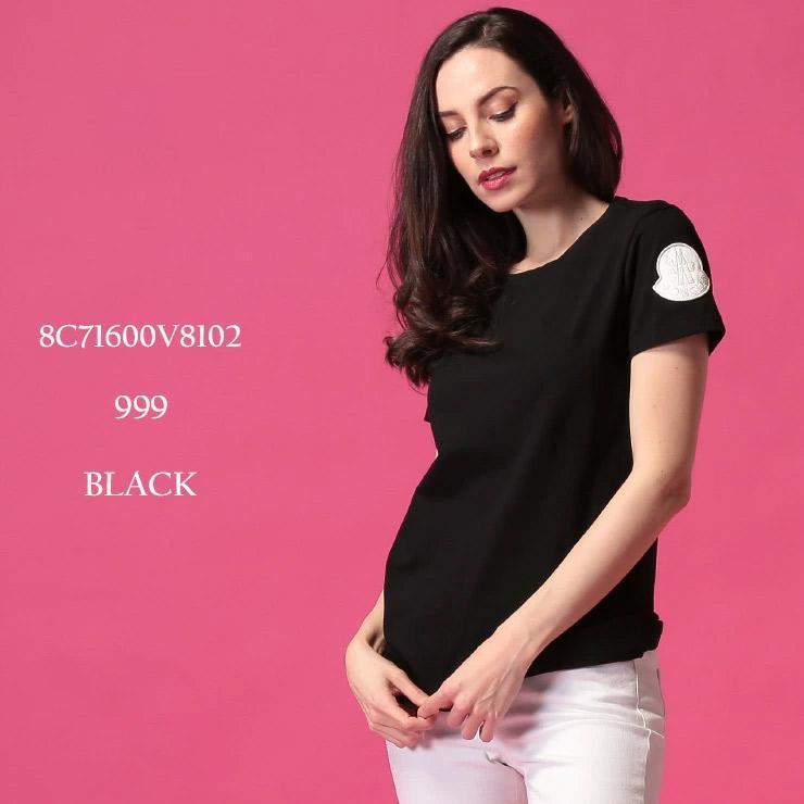 人気特価 モンクレール レディース Tシャツ 半袖 MONCLER ロゴ ワッペン コットン クルーネック 黒 ブランド トップス カットソー MCL8C71600V8102, オオカワシ d449a788