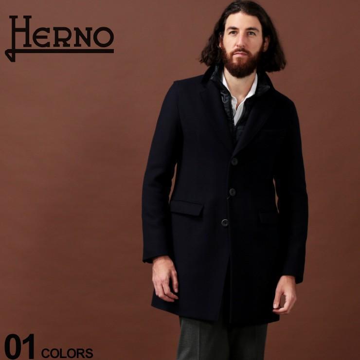 【限定製作】 ヘルノ HERNO コート ウール 中綿 レイヤード チェスターコート ブランド メンズ アウター HRCA0045U39601, 安価 9cec2373