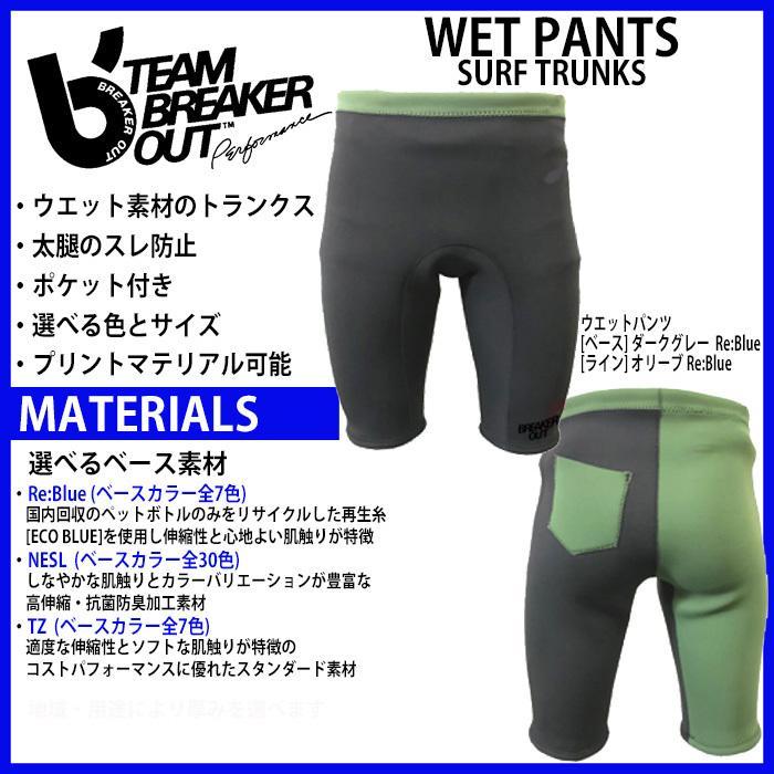 カスタムオーダー BREAKER OUT ウエット素材トランクス:色やポケット・素材を選んでカスタマイズできます
