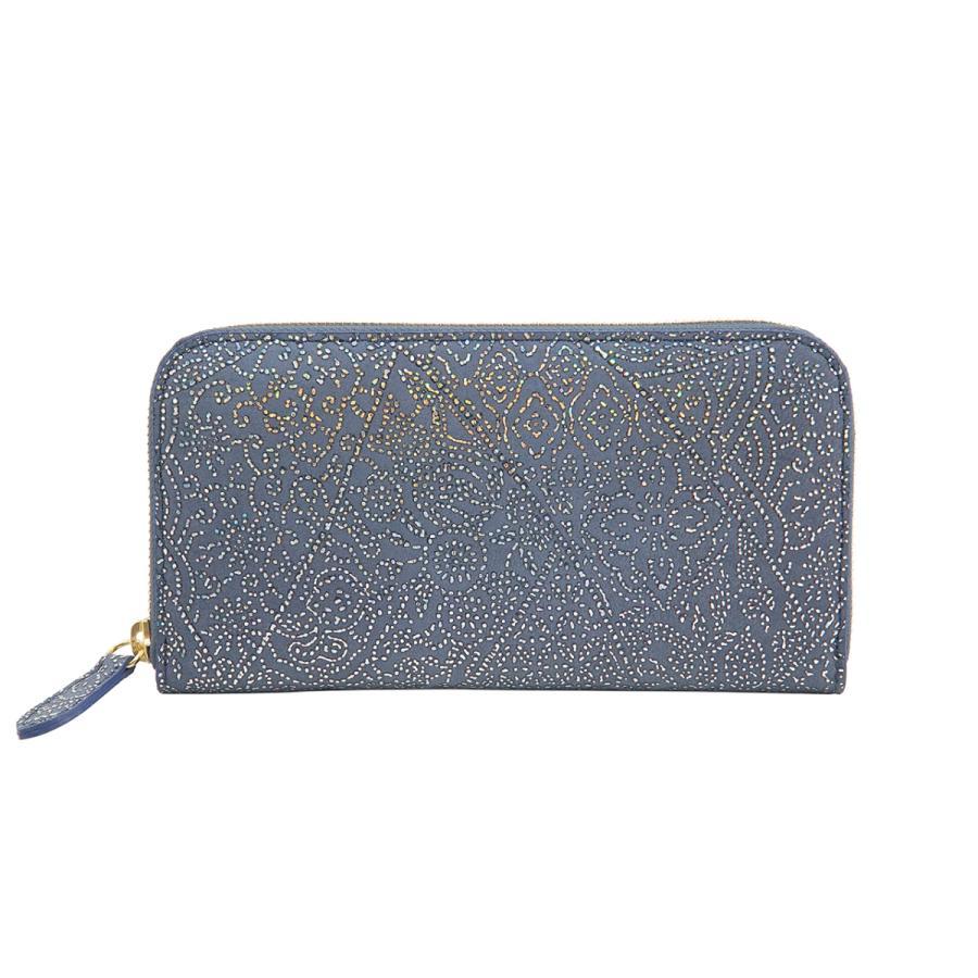光を纏って美しく輝く スペイン シープレザー FIORINO フィオリーノ ラウンドファスナー 長財布(ブルー) zeppinchibahonpo