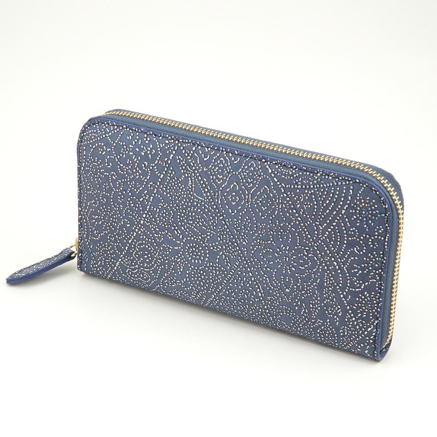 光を纏って美しく輝く スペイン シープレザー FIORINO フィオリーノ ラウンドファスナー 長財布(ブルー) zeppinchibahonpo 02