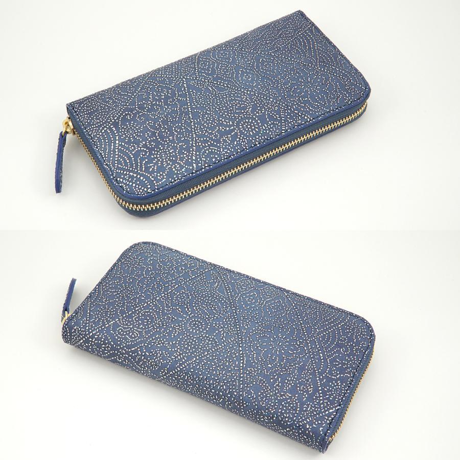 光を纏って美しく輝く スペイン シープレザー FIORINO フィオリーノ ラウンドファスナー 長財布(ブルー) zeppinchibahonpo 03