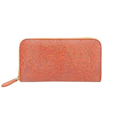 光を纏って美しく輝く スペイン シープレザー FIORINO フィオリーノ ラウンドファスナー 長財布(オレンジ)|zeppinchibahonpo