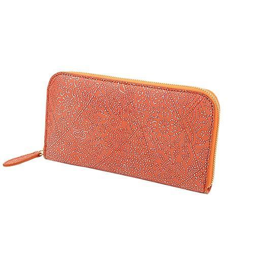 光を纏って美しく輝く スペイン シープレザー FIORINO フィオリーノ ラウンドファスナー 長財布(オレンジ)|zeppinchibahonpo|02