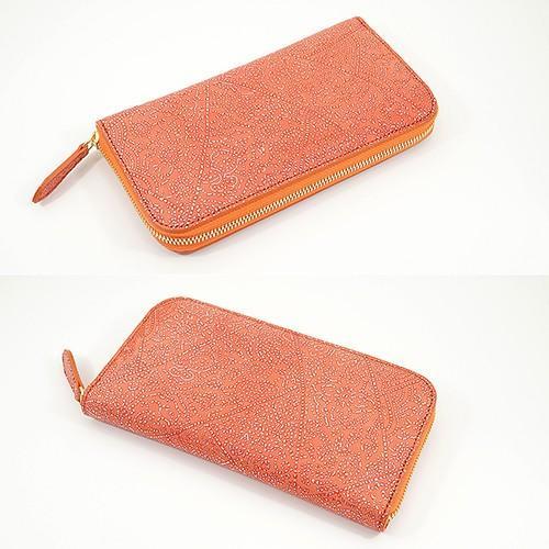 光を纏って美しく輝く スペイン シープレザー FIORINO フィオリーノ ラウンドファスナー 長財布(オレンジ)|zeppinchibahonpo|03