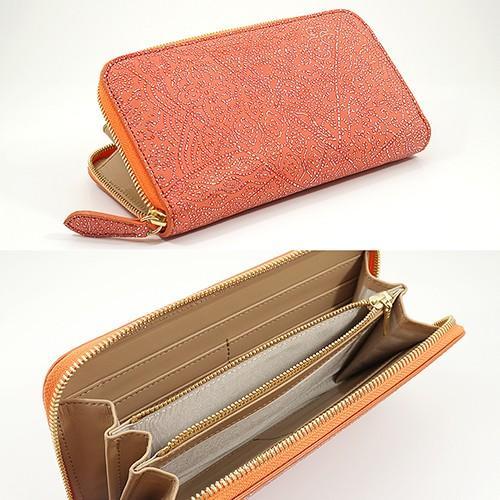 光を纏って美しく輝く スペイン シープレザー FIORINO フィオリーノ ラウンドファスナー 長財布(オレンジ)|zeppinchibahonpo|06