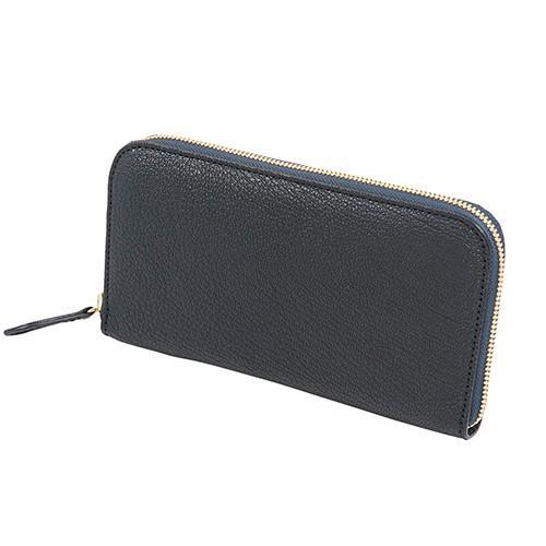 ボリュームあるシボ 山羊革 (ゴートシュリンク) 財布 ラウンドファスナー 長財布 紺|zeppinchibahonpo