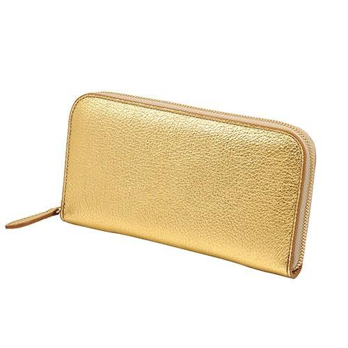 イタリアン シープレザー ラウンドファスナー 長財布(ゴールド)|zeppinchibahonpo