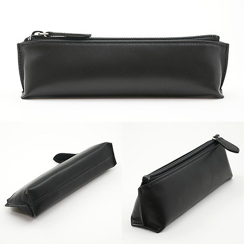 牛革 スムース レザー ペンケース (黒)  大人 の 本革 筆箱 ブラック|zeppinchibahonpo|03