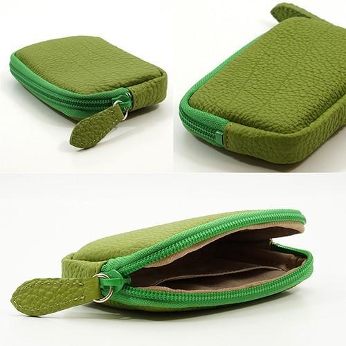 高級 本革 大人 の マルチポーチ 小さなお出かけバッグも すっきり 整理 手のひらサイズ 小物入れ(ライトグリーン) zeppinchibahonpo 05
