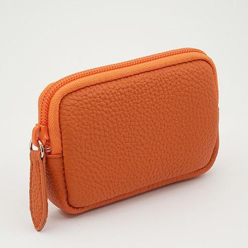 高級 本革 大人 の マルチポーチ 小さなお出かけバッグも すっきり 整理 手のひらサイズ 小物入れ(オレンジ) zeppinchibahonpo