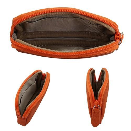 高級 本革 大人 の マルチポーチ 小さなお出かけバッグも すっきり 整理 手のひらサイズ 小物入れ(オレンジ) zeppinchibahonpo 04